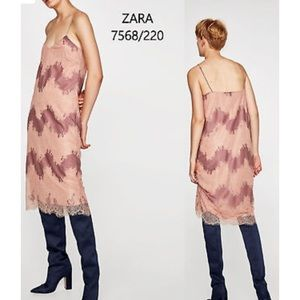 Zara Dresses - Zara Pink Mauve Delicate Lace Slip Midi Dress